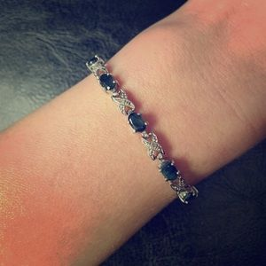 Jewelry - Sterling silver bracelet with black stones